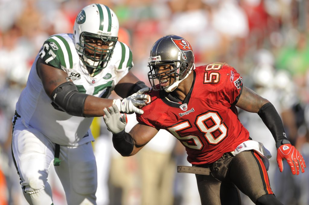 Quincy Black of the Tampa Bay Buccaneers against the New York Jets at Raymond James Stadium in Tampa, Florida on December 13, 2009.