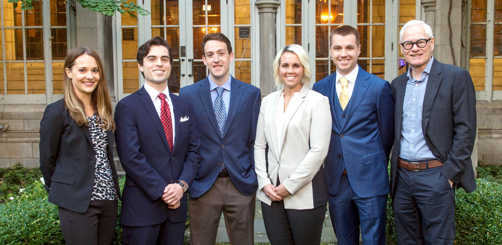 The Tax Lawyer student editorial board members (from left) Katie Cooperman, William Walsh, Charles Filips, Allyssa Depew, and Nicholas Bjornson with faculty editor David Cameron (far right).