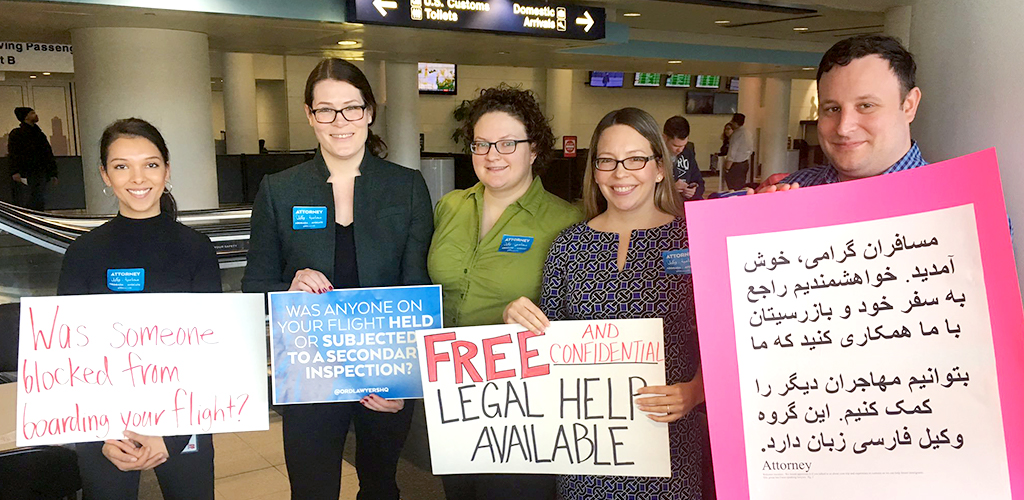 Northwestern alumni at the airport