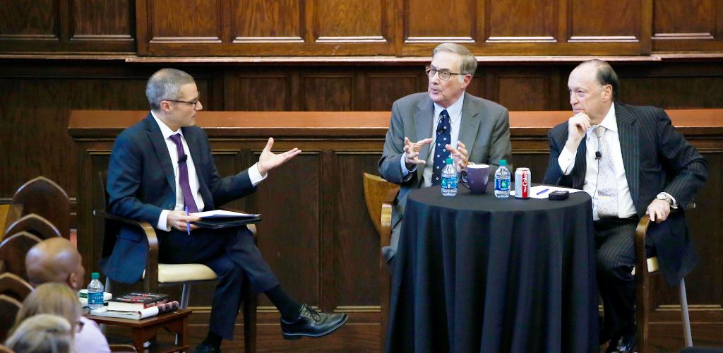 Jason DeSanto moderates discussion with Martin Redish and Steven Brill