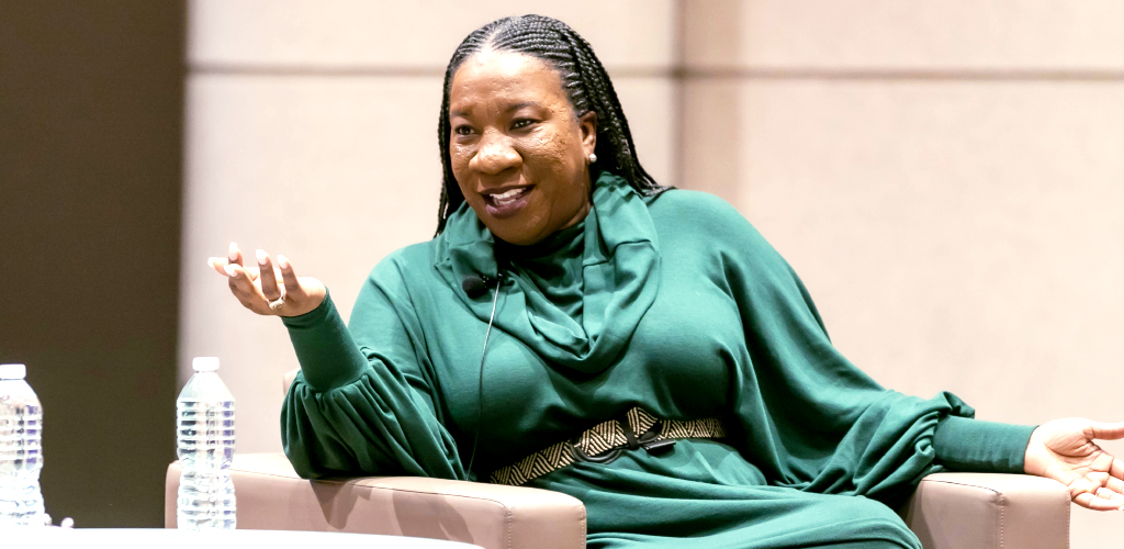 Activist Tarana Burke speaking at Northwestern Pritzker School of Law