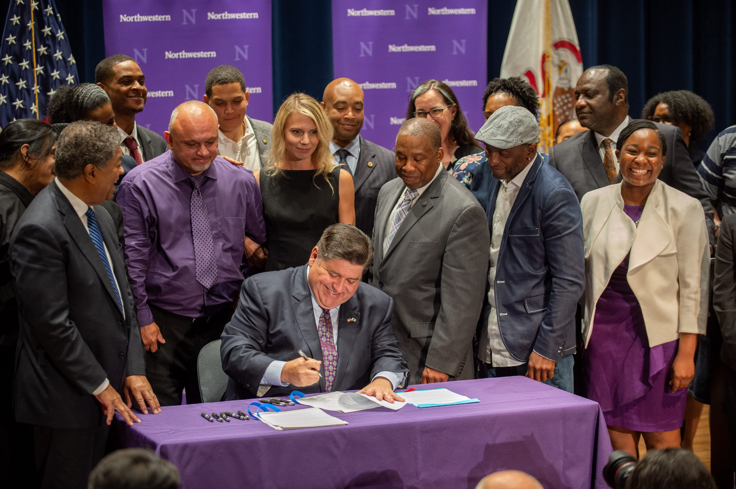 CHICAGO, IL - JULY 15: Illinois Governor J.B. Pritzker formally signed into law four new bills during a press conference of Wednesday, July 15, 2021 in the Thorne Auditorium at the Pritzker School of Law on the Chicago campus of Northwestern University in Chicago, Illinois. The new laws ban the use of deceptive practices to extract confessions during the interrogation of minors.  (Photo credit: Randy Belice for Northwestern University)